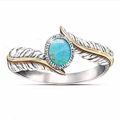 Canción de lino retro joyería anillo de plumas de color turquesa – exquisito anillos de boda