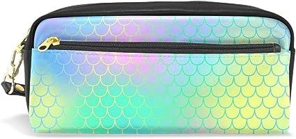 Eslifey - Estuche portátil de piel sintética con diseño de cola de sirena y escamas de pescado: Amazon.es: Oficina y papelería