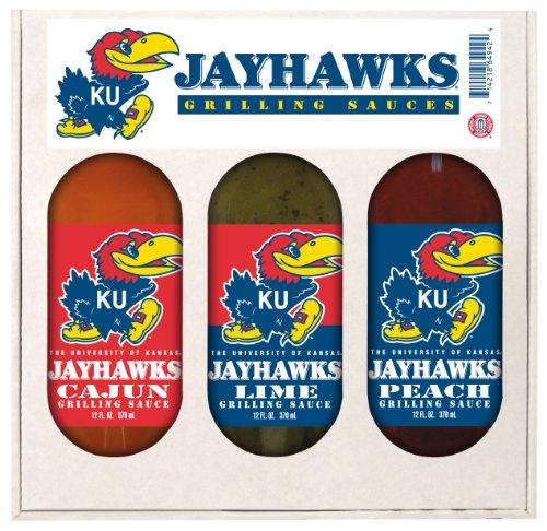 Kansas Jayhawks NCAA Grilling Gift Set (12oz Cajun, 12oz Lime, 12oz Peach)