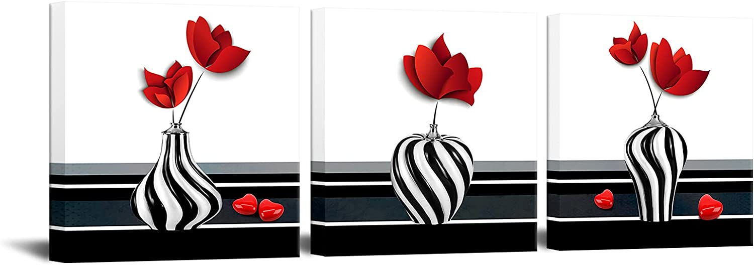 3 Pieces Abstract Red Flower Canvas Wall Art Still Life Canvas Painting Prints Flower on Black and White Vases Picture for Bathroom Hallway Decor Stretched 12x12inchx3pcs