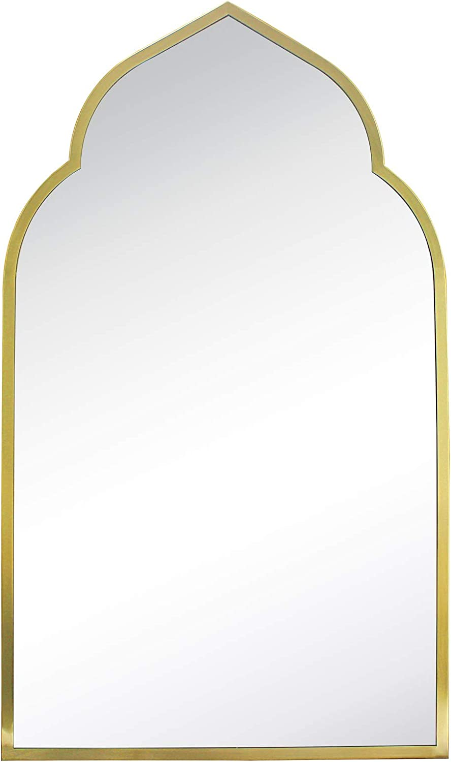 TEHOME Gold Metal Framed Bathroom Mirror in Stainless Steel Arch Mirror for Wall Décor 22 x 36 inch
