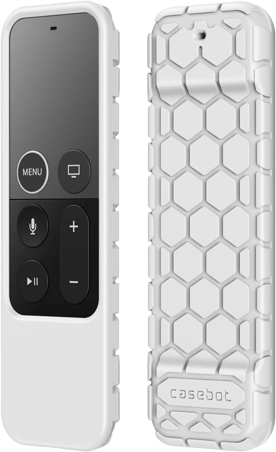 Fintie Protective Case for Apple TV 4K 5th, 4th Gen Remote - CaseBot (Honey Comb Series) Lightweight (Anti Slip) Shock Proof Silicone Cover for Apple TV Siri Remote Controller, White