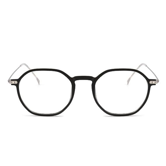8c40d08e01c9 Mode Monture Lunettes de Myopes Optiques Cadre TR90 Métallique Léger  Fashion Polygon Lentilles Claires (Noir
