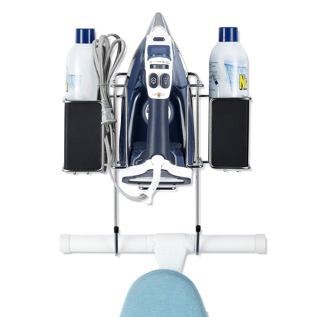 ironing board holder hanger cupboard over door wall mount rack w storage basket 638346143909 ebay. Black Bedroom Furniture Sets. Home Design Ideas