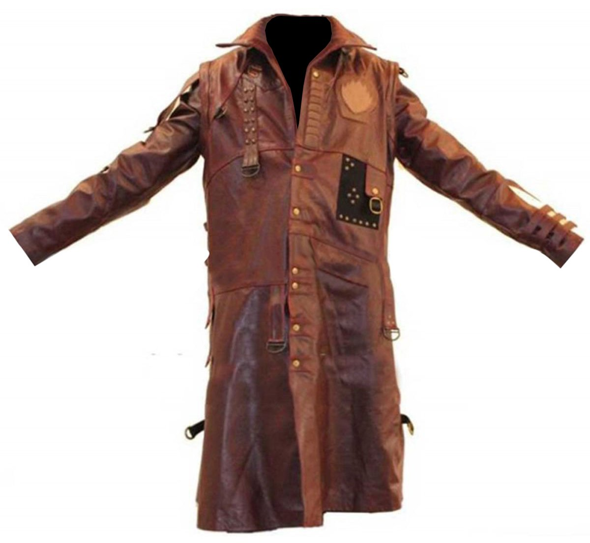 GOTG 2 Michael Rooker Yondu Brown Faux Leather Trench Coat