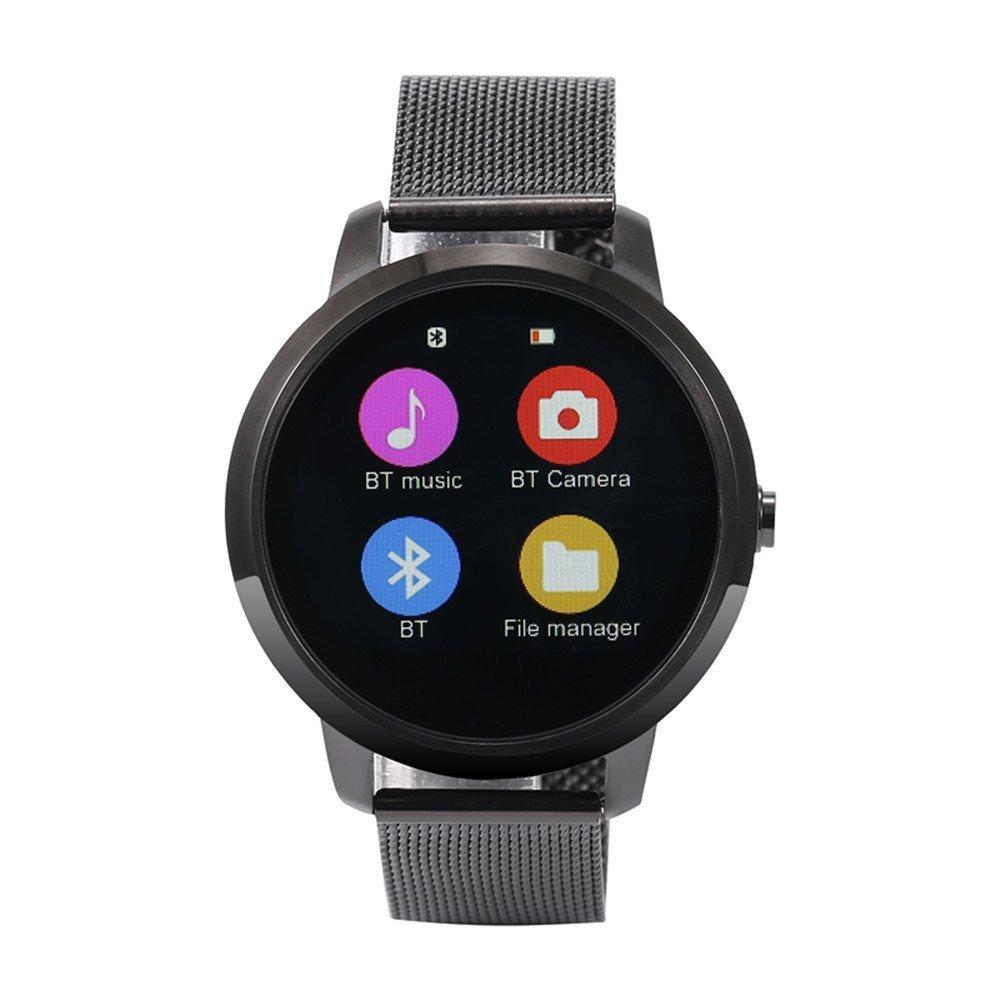 Hipipooo V360 Redondo Reloj Inteligente calorías podómetro Monitor de sueño podómetro Mando a Distancia Control de Voz Bluetooth 4.0 (Negro): Amazon.es: ...