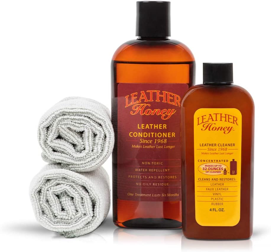 Leather Honey Leather Conditioner & Cleaning Kit for use on Leather Apparel, Furniture, Auto Interiors, Shoes, Bags and Accessories. Conditioner, Cleaner and 2 Lint-Free Cloths.