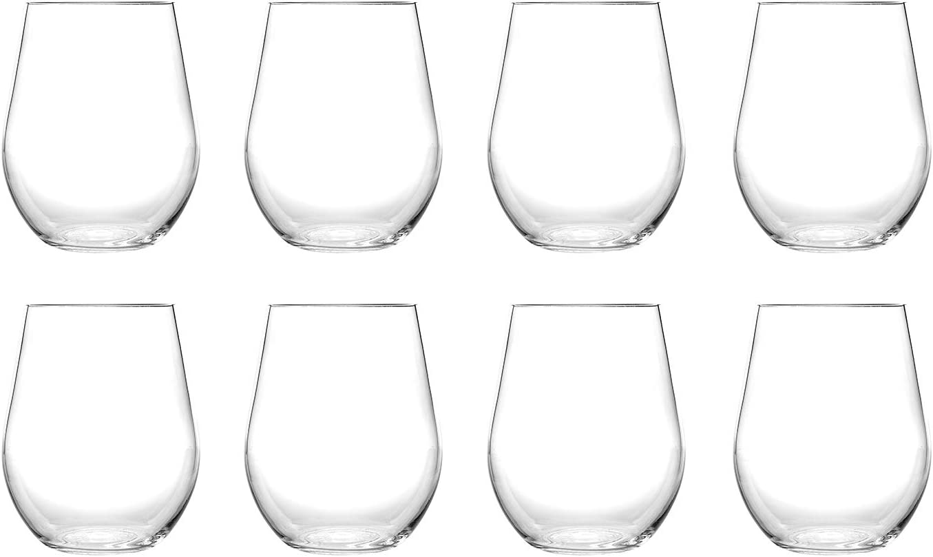 Classic 20OZ Acrylic Plastic Wine/Beverage Glasses, Sets 8(Clear) - Unbreakable, Dishwasher Safe, BPA Free (clear, 8)
