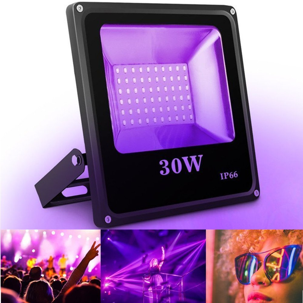 UV Black Light, SOLMORE 30W 60 LED Flood Light Party Lights Waterproof Blacklight for Party Supplies DJ Disco Night Clubs Birthday Wedding Stage Lighting Glow in The Dark AC100-240V