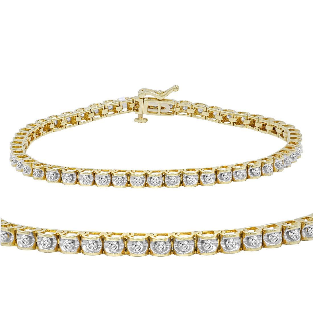 AGS Certified 1 ct tw Diamond Tennis Bracelet in 14K Yellow Gold 7 inch