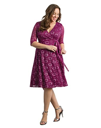 Kiyonna Womens Plus Size Glittering Affair Wrap Dress At Amazon