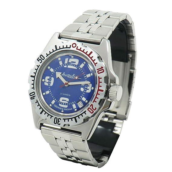 cucuba® Reloj de pulsera Vostok Amphibia subaqueo Soviet Russia 31 rubíes Profundidad de inmersión hasta