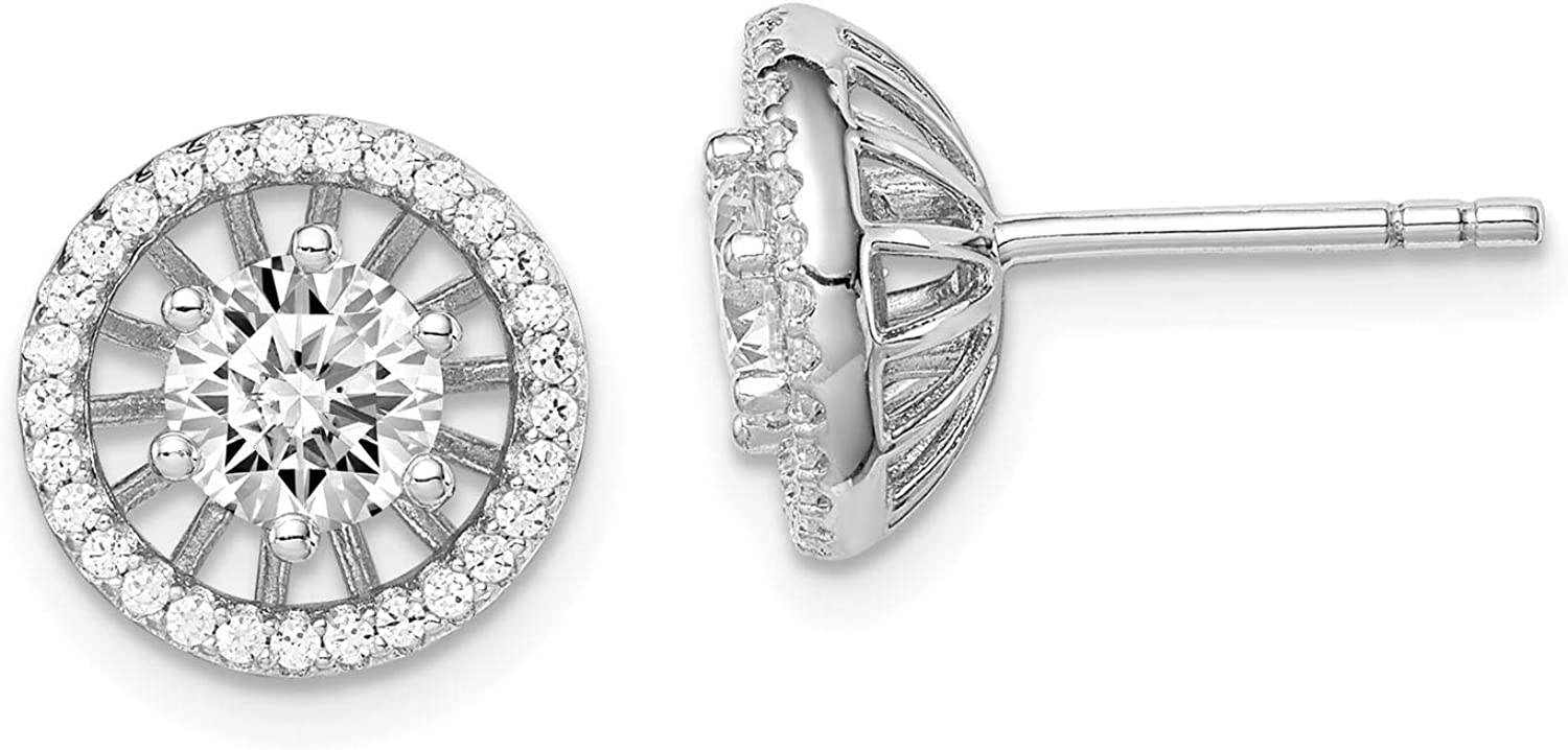 925 Sterling Silver Rhodium-plated Polished 5mm Center CZ Circle Post Earrings