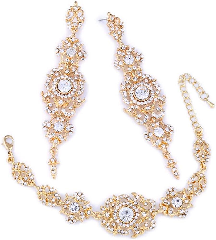 Pendientes largos Conjunto de joyas de cristal de boda Europa y América Pendientes nupciales Joyas Pendiente de tres piezas Joyería