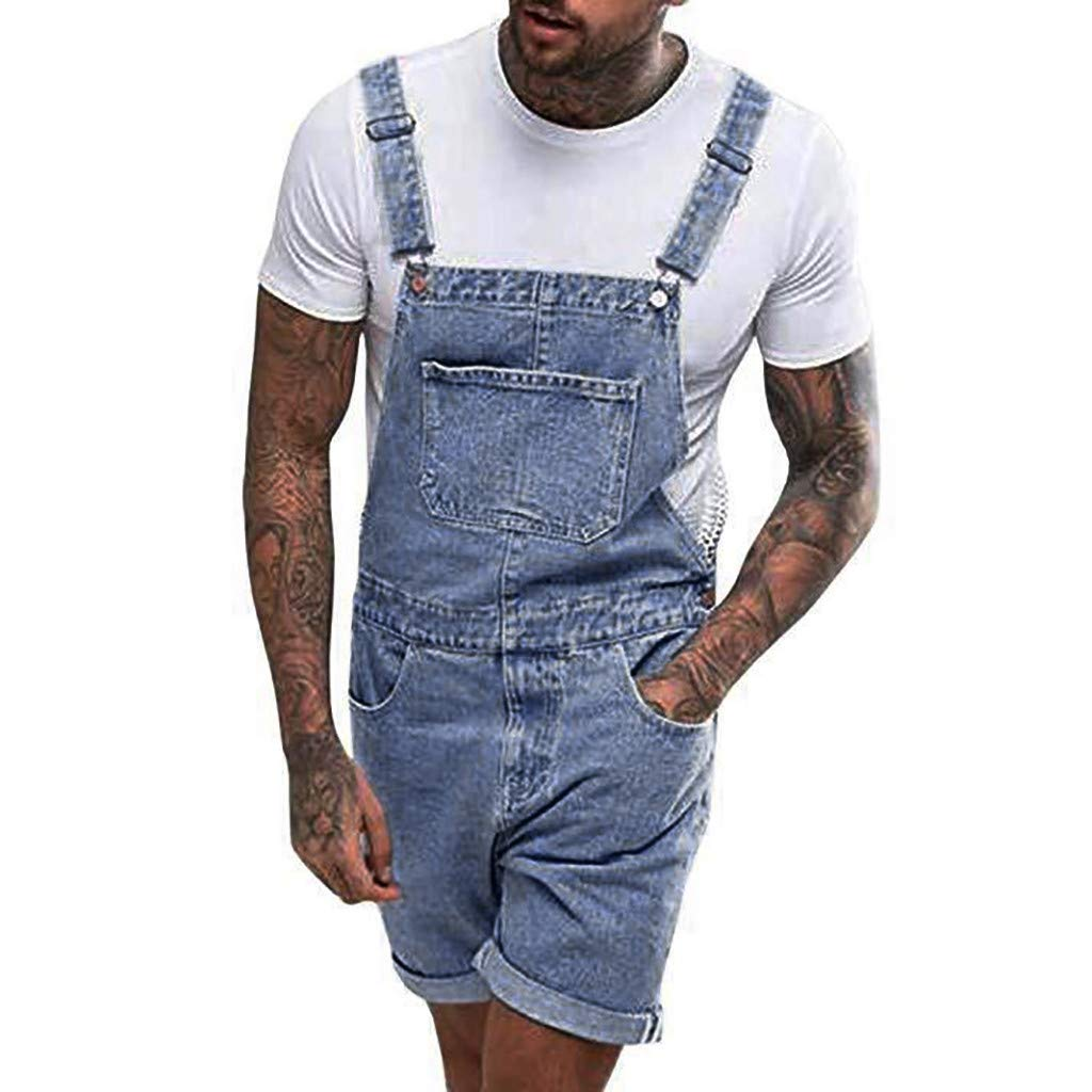 Men's Summer Casual Suspender Pants Overall Jumpsuit Short Jeans Denim Bib Pants Pocket Trousers by Lowprofile