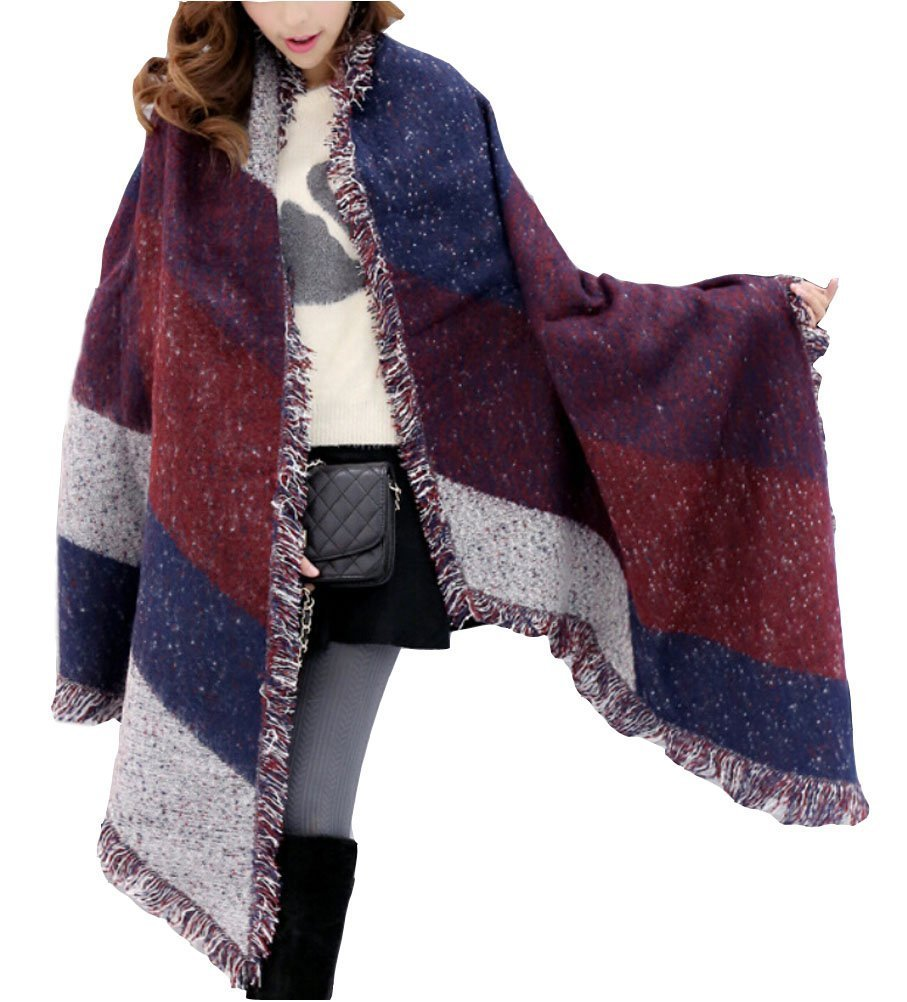 Minetom Sciarpa, Moda Donna Inverno Caldo Foulard Plaid Sciarpa Scialle Lungo Morbidi Sciarpe Wraps (Caffè)