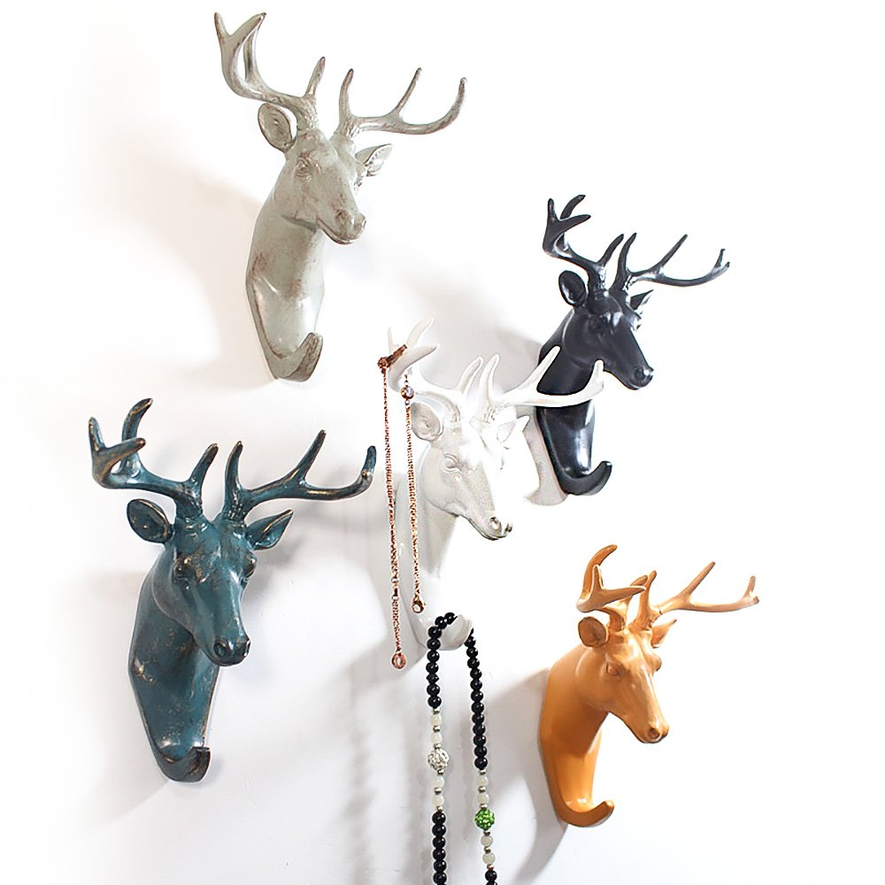 Zhi Jin 1Pc Modern White Animals Head Hook Wall Mounted Self Adhesive Door Hanger for Clothes Hat Elephant