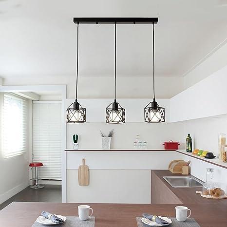 Retro minimalismo Lange 3-Head Luce pendente Nero Ferro Il giro ...