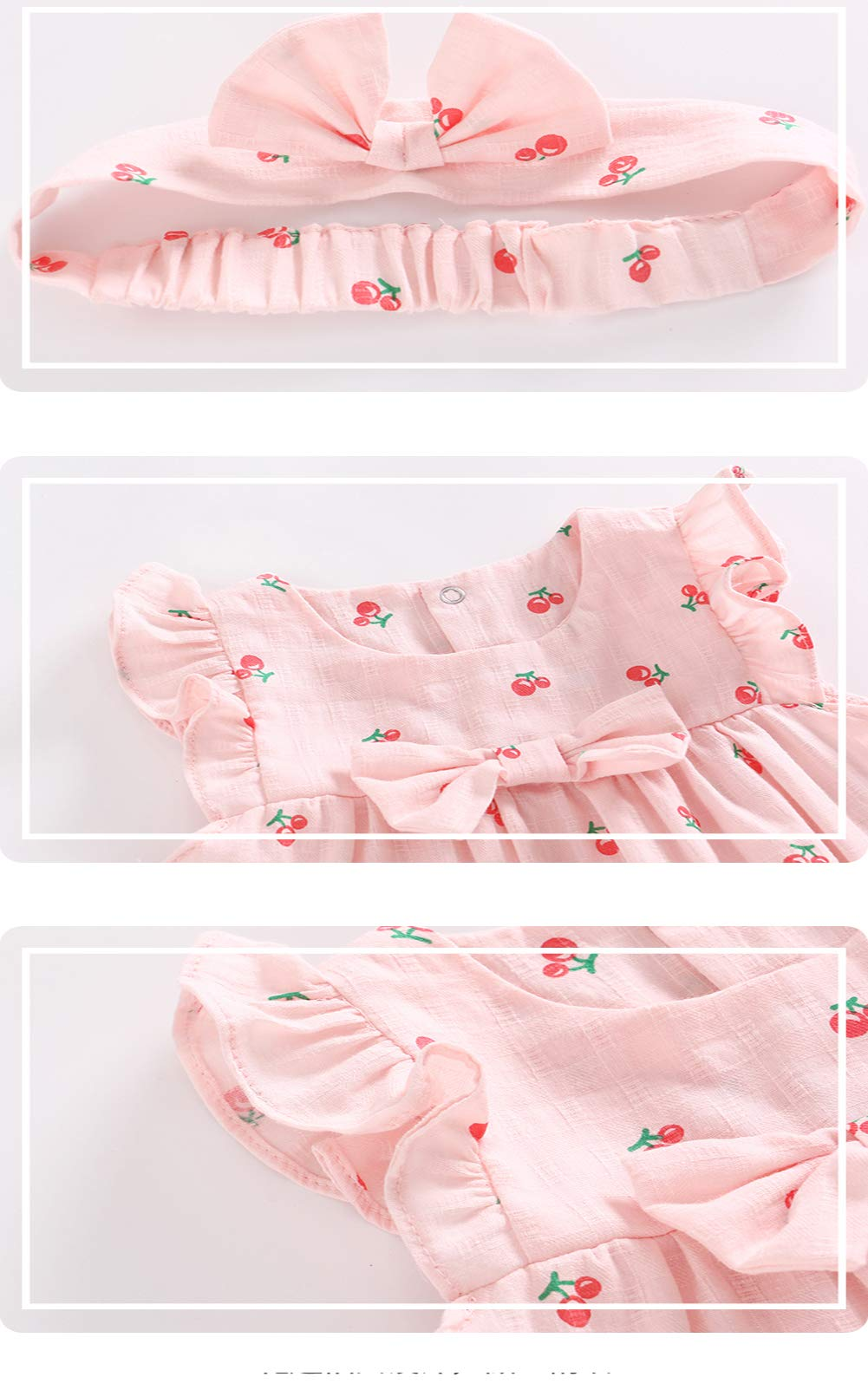 Feidoog Baby Girls Dress+Shorts Outfit with Bowknot Headband,Pink,12-18M by Feidoog (Image #5)