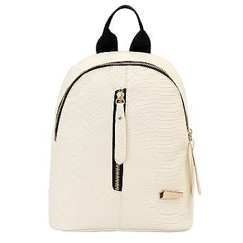 Mochilas de cuero para mujer Bolsas de escuela para adolescentes Bolsa de viaje Bolsa de hombro LMMVP (24cm*20cm*10cm, Blanco): Amazon.es: Hogar