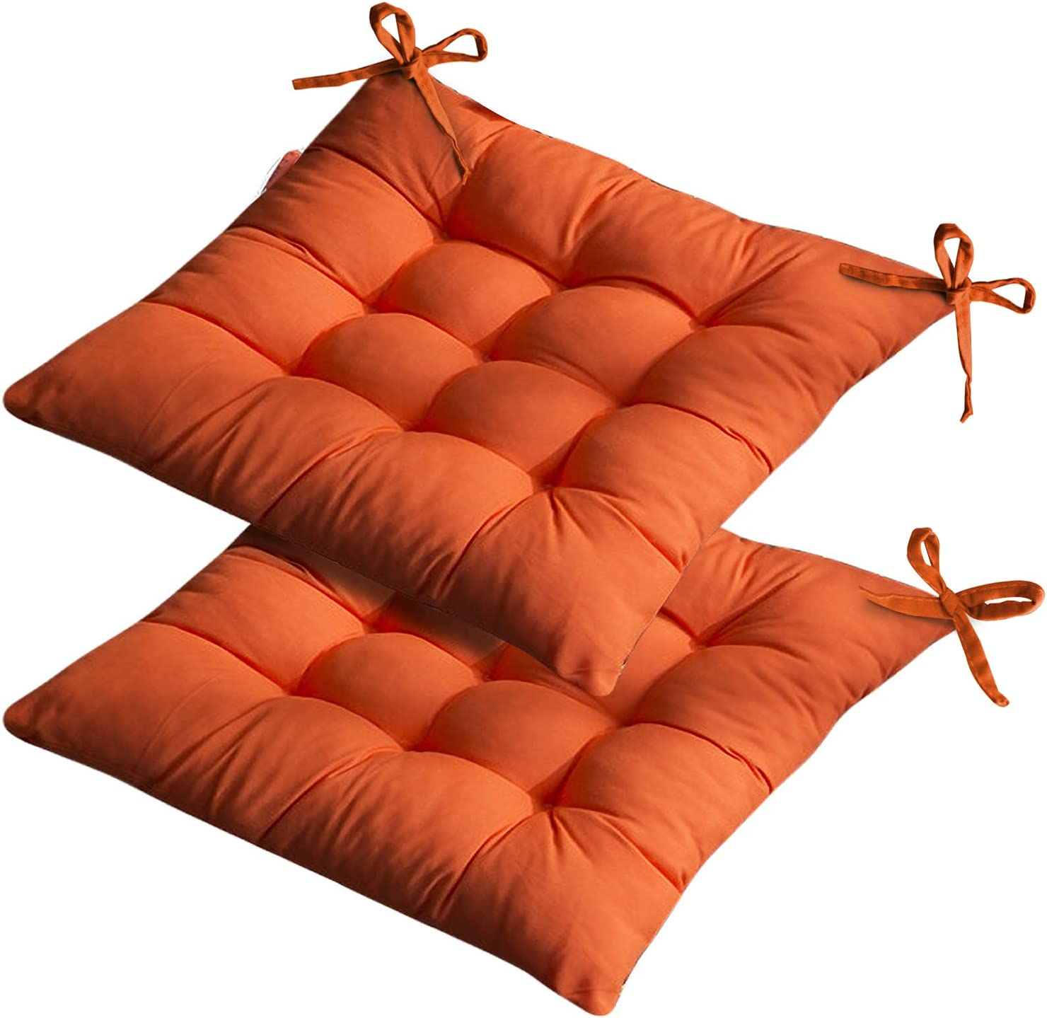 Set of 2 Outdoor Chair Cushions, Thick Soft and Comfortable Dining Chair Cushions with Ties for Indoor Outdoor Garden Car Office Patio Furniture Decoration. (15.7515.75 inch) (Orange)