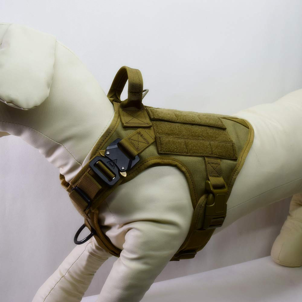 Water-Resistant Tactical Military K9 Dog Harness Vest Walking Hiking Hunting MOLLE Training Harness for Service Dog (S, Tan)
