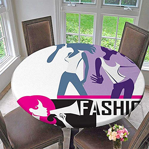 Circular Table Cover Teen Composition of Yelling into Megaphone Stylish Themed Art Print Black for Wedding/Banquet 63