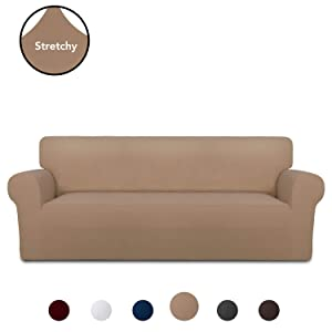 PureFit Super Stretch Chair Sofa Slipcover – Spandex Anti-Slip Soft Couch Sofa Cover, Washable Furniture Protector with Anti-Skid Foam and Elastic Bottom for Kids, Pets (Oversized Sofa, Camel)