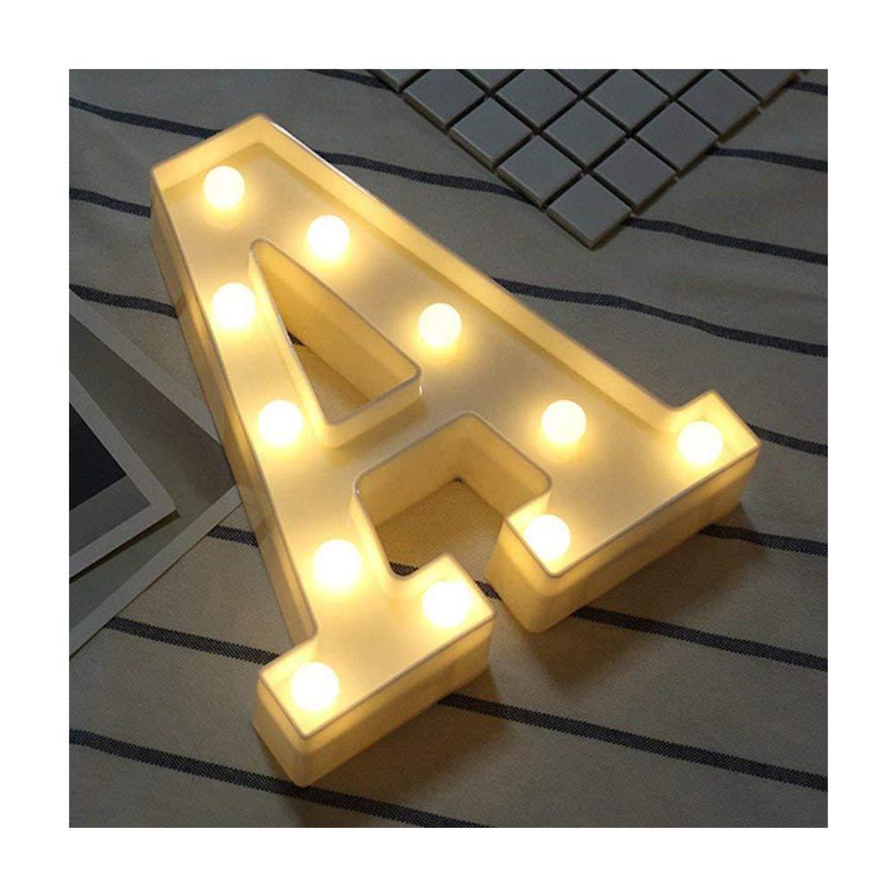 LED–Luces Alfabeto plástico lámpara letras White letras luces Decoración blanca cálida luces Carpa Luz, para fiestas, bodas empfänge Home, funciona con pilas, de dubens