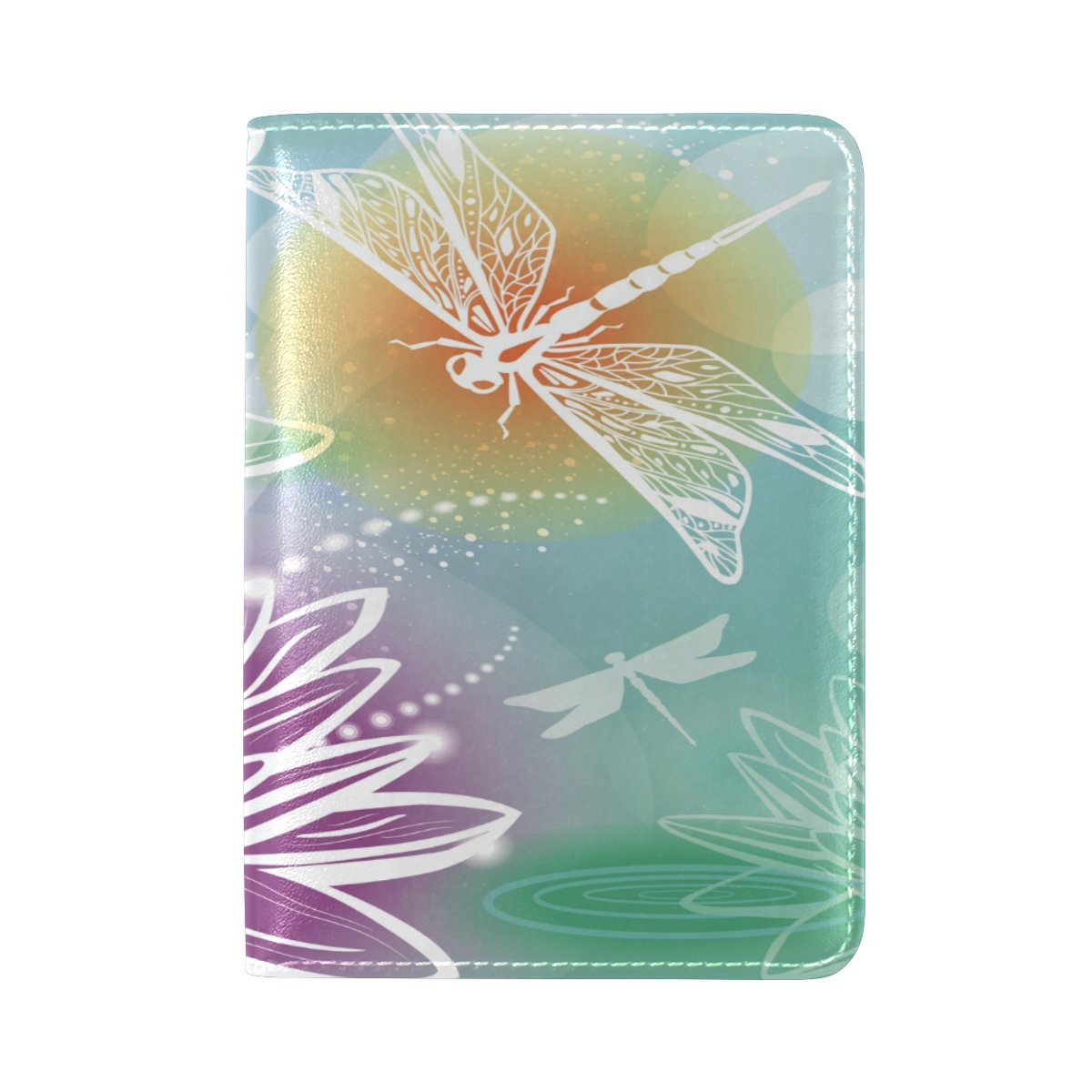 Art Dragonfly Genuine Real Leather USA Passport Holder Cover Travel Case