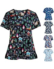 Msaikric Christmas Print Nurse Uniforms for Women Patterned Short Sleeve V-Neck Thanksgiving Shirts Tee Tops with Pockets