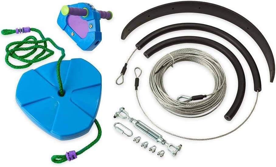 HearthSong 150 Blue Backyard Zipline Kit Kids Holds 250 lbs Adjustable Seat Non-Slip Handles Rubber Brake Hanging Hardware Playground Equipment Outdoor Play