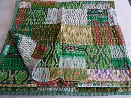 - Tribal Asian Textiles Patola Silk Patch Kantha Quilt, Kantha Blanket Bedspread, Patch Kantha Throw, King Kantha, Kantha Rallies Indian Sari Quilt, Size 90