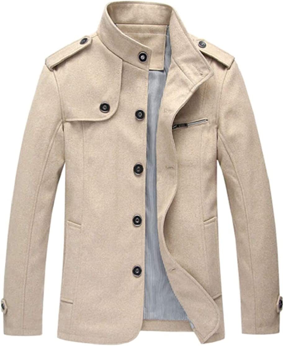 M/&S/&W Men Winter Warm Wool Jacket Stand Collar Outwear Buttons Trench Coat