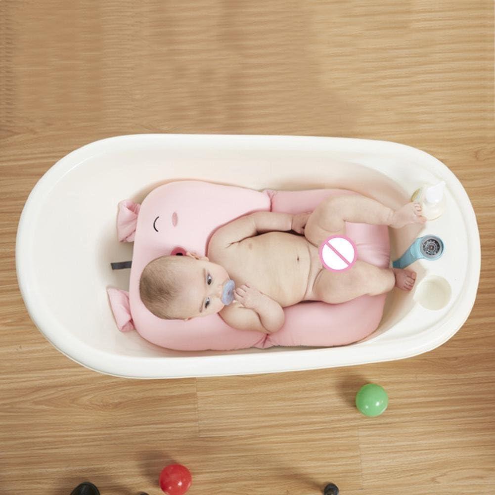 coj/ín flotante de apoyo para reci/én nacidos de 0-6 meses Blue Pig Pattern Almohadilla acolchada para la ba/ñera de Domybest