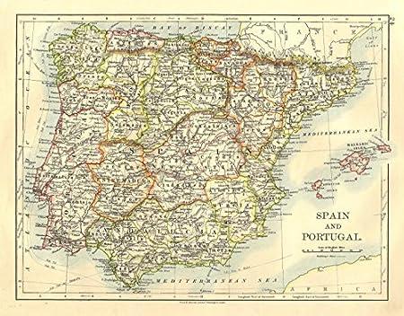 España y Portugal Iberia. Ferrocarriles Provinces. Baleares. Johnston - 1906 - Mapa Antiguo Vintage - Mapas Impresos de España: Amazon.es: Hogar
