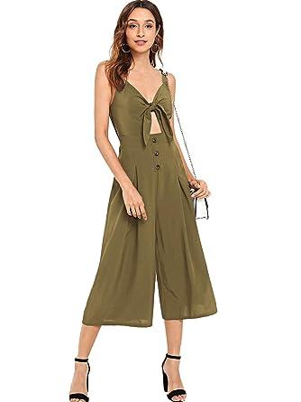 cc9e025e023 Floerns Women s V Neck Tie Front Spaghetti Strap Wide Leg Jumpsuit Army  Green XS