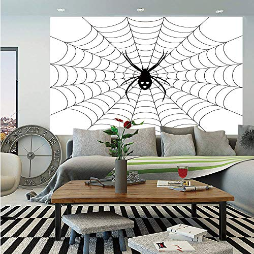 Spider Web Removable Wall Mural,Poisonous Bug Venom Thread Circular Cobweb Arachnid Cartoon Halloween Icon Decorative,Self-Adhesive Large Wallpaper for Home Decor 66x96 inches,Black White ()
