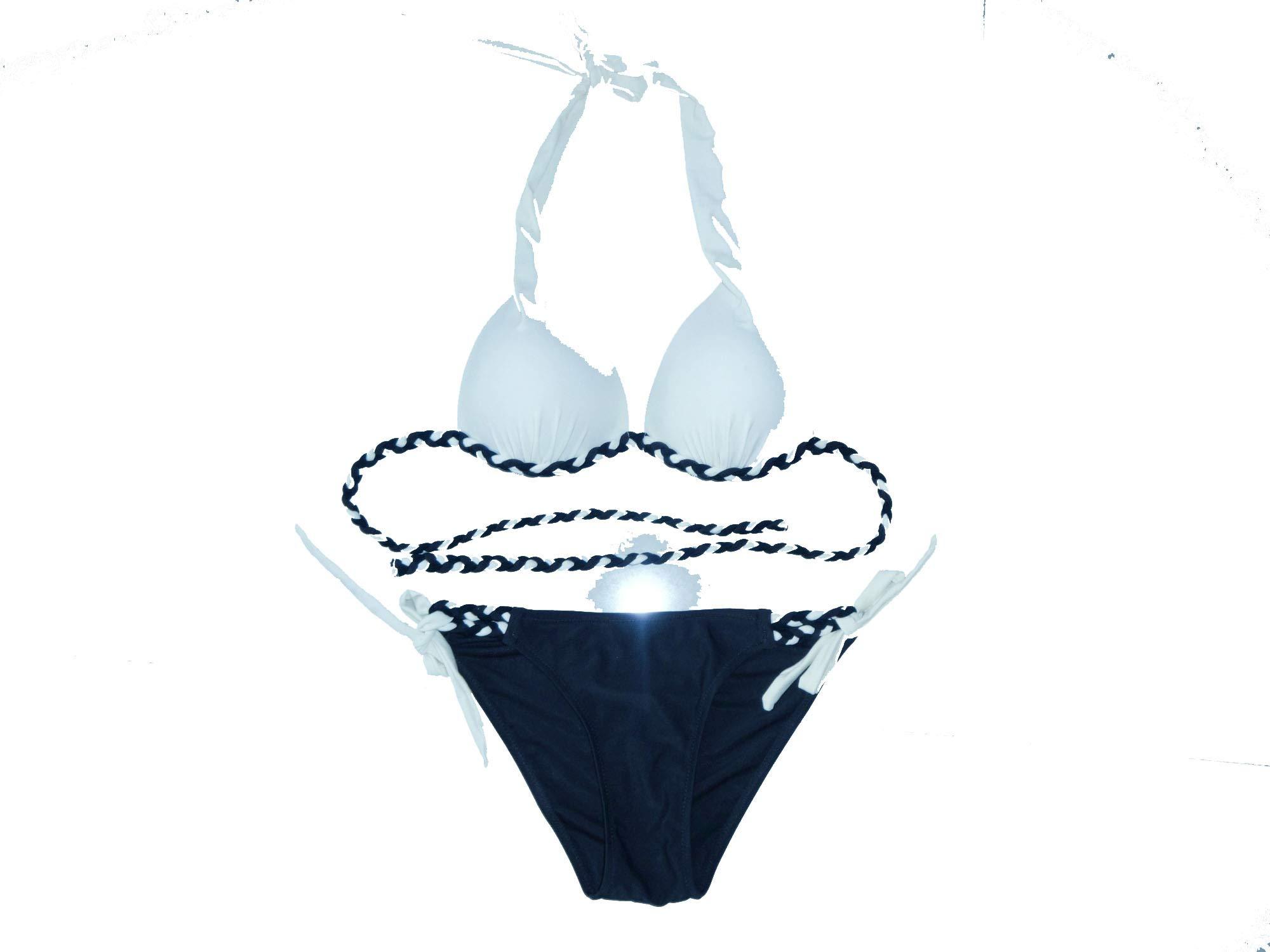 Noon-Sunshine athletic-two-piece-swimsuits High-end Upper-Class Elegant Temperament Stitching Sexy Triangle Bag Bikini,Blue,XXL