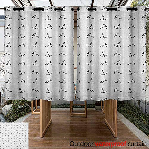 AndyTours Outdoor Grommet Top Curtain Panel,Anchor,Vintage Monochrome Anchor Silhouettes with Hearts Nautical Tattoo Arrangement,Insulated with Grommet Curtains for Bedroom,K140C100 Black and White