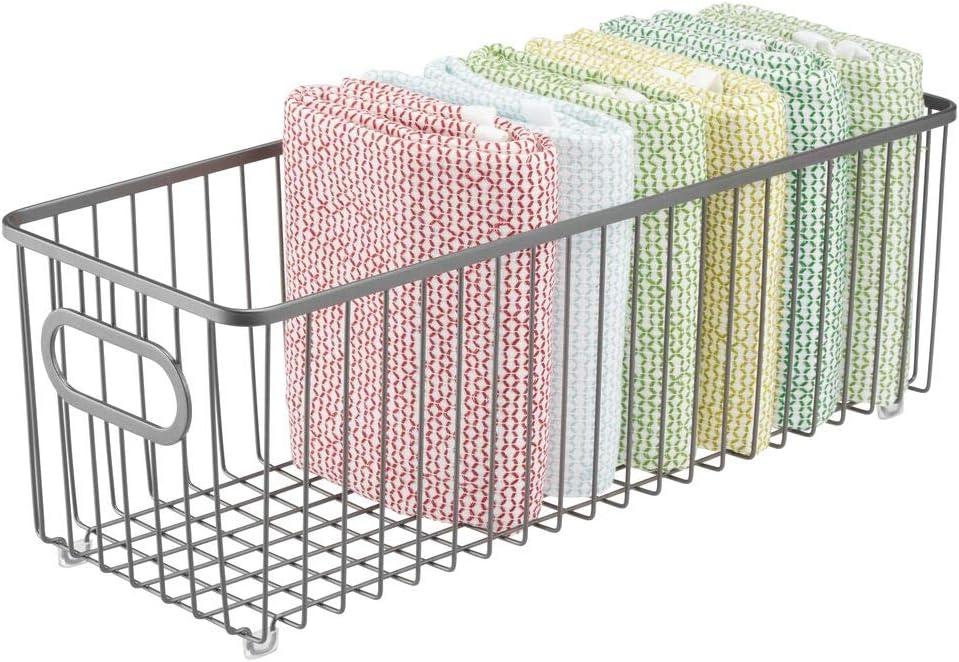 mDesign Cesto de alambre de metal Organizadores de cocina alargados y universales con asas Vers/átil cesta de metal multiusos para cocina o despensa color bronce