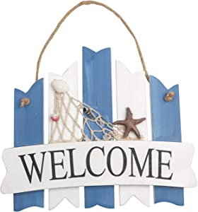 Hanging Wooden Welcome Sign Beach Style Hanging Welcome Sign for Door Hanging Hanging Wall Welcome Sign Board for Beach Boat Ocean Seaside Theme Plaque Ornaments Home Door, 12