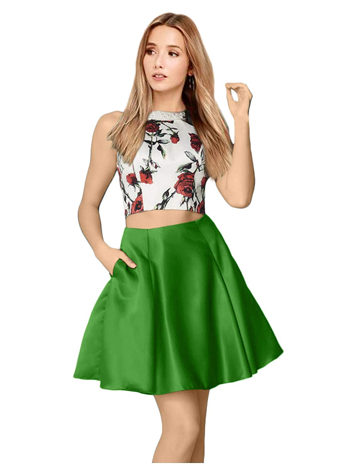 Monalia Womens Floral 2 Piece Short Homecoming Dress Prom Cocktail Evening Gown