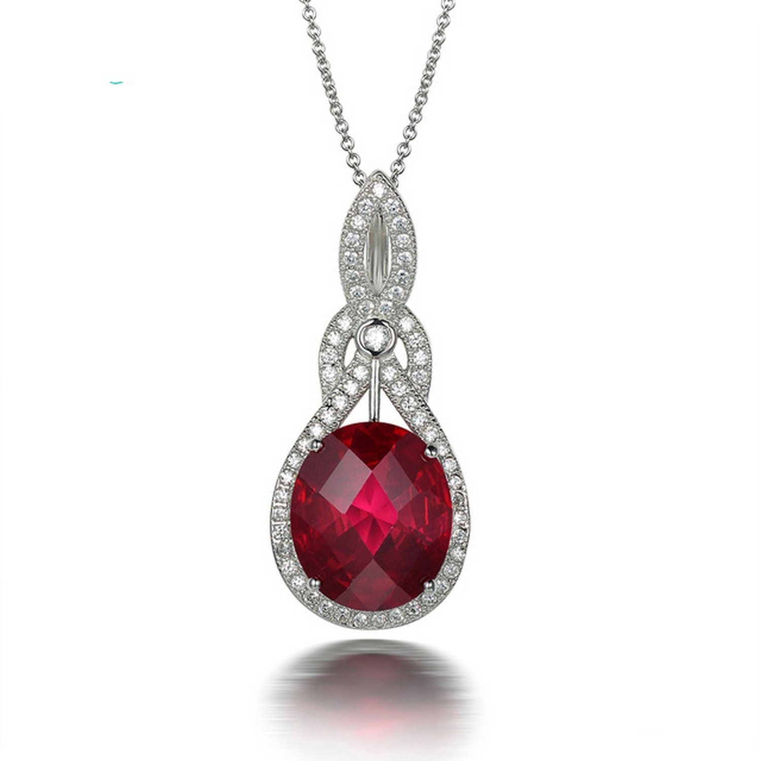 CS-DB Jewelry Silver 7.98ct Ruby Chain Charm Pendants Necklaces