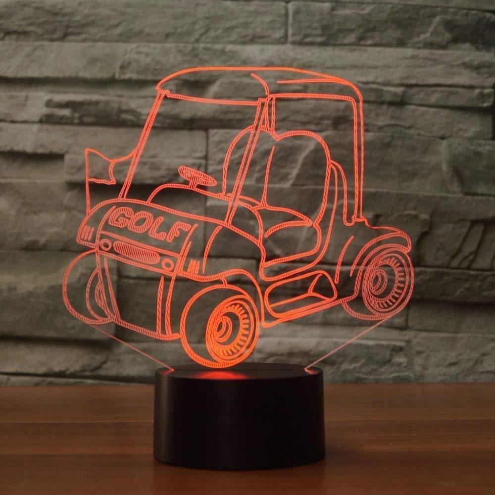 Creativo 3D Carrito de Golf Luz de Noche 7 Colores que Cambian USB Poder Touch Switch Ilusión óptica Decor Lámpara LED Mesa Lámpara Niños Juguetes ...