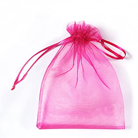 SXUUXB 100 PCS 16x22cm Bolsas de regalo de organza, Bolsos de lazo de Organza Jewelry Pouches Wrap para la fiesta de la boda de Navidad(Rosa roja)