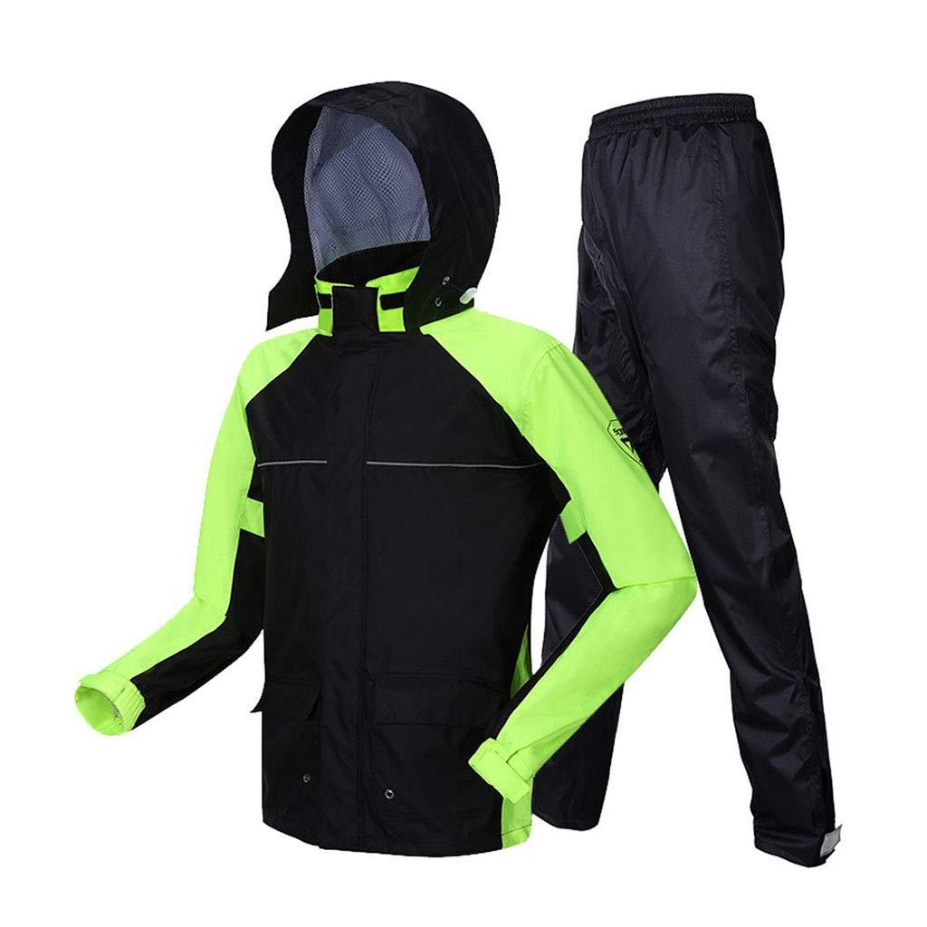 LYP-Rainwear Regenmantel Herren Regenmantel Set Erwachsene (atmungsaktives Top + Wasserdichte Regenhose) 2-teiliges Set wiederverwendbar Geteilte Wasserdichte Kapuze Outdoor-Motorradwandern