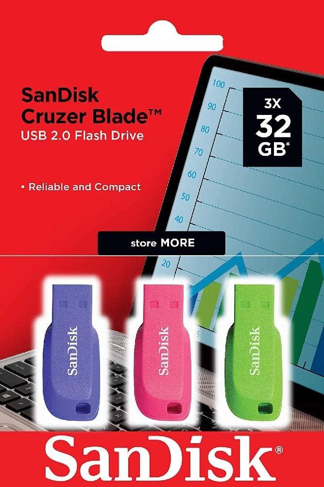 SanDisk Cruzer Blade SDCZ50C-032G-B46T - Memoria USB 2.0, Pack 3 Unidades de Colores Azul/Rosa/Verde, 32 GB