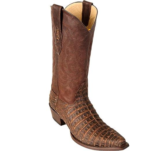 Original Sanded Brown Caiman (Gator) Belly Leather Snip-Toe Boot
