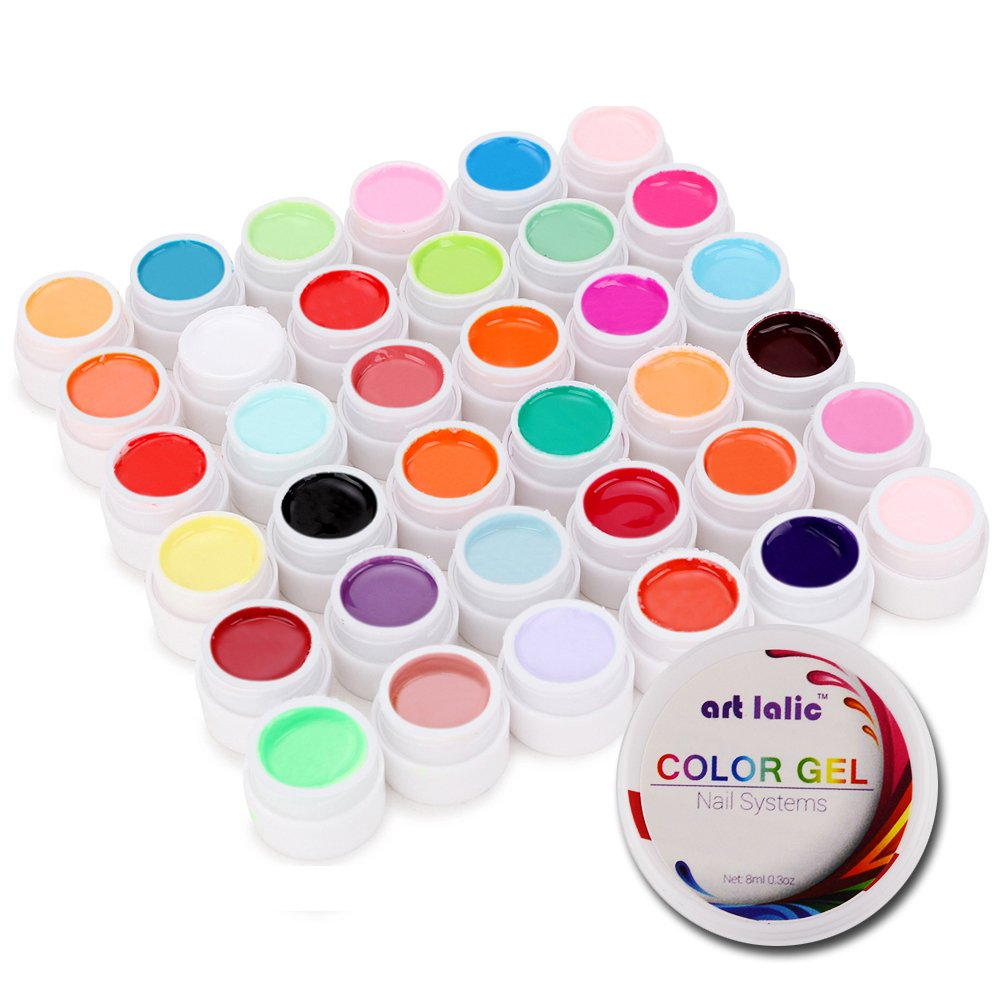 Artlalic 36 Colors Nail Art UV Gel Pure Cover Colours Design Extension Builder DIY Tips Set